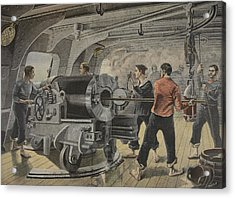 Manoeuvering Of A Cannon By The Spanish Acrylic Print by Fortune Louis Meaulle