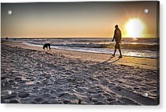 Man's Best Friend On Beach Acrylic Print