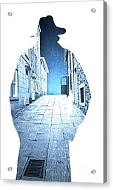 Man's Profile Silhouette With Old City Streets Acrylic Print by Edward Fielding