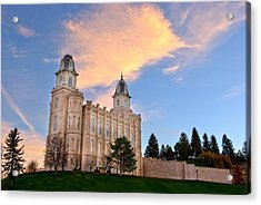 Manti Temple Morning Acrylic Print by David Andersen