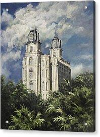Manti Utah Temple Sentinel Pastel Acrylic Print