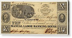 Manual Labor Bank Note Acrylic Print by American Philosophical Society