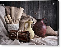 Manuscripts Still Life Acrylic Print by Tom Mc Nemar