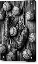 Many Baseballs In Black And White Acrylic Print by Garry Gay