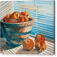 Acrylic Print featuring the painting Many Blind Peaches by Jani Freimann