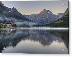 Many Glacier Hotel On Swiftcurrent Lake Acrylic Print by Darlene Bushue