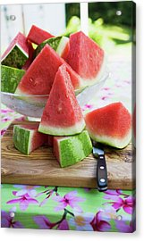 Many Pieces Of Watermelon In A Glass Bowl Acrylic Print