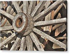 Many Wooden Wheels Acrylic Print by Phyllis Denton