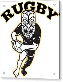 Maori Mask Rugby Player Running With Ball Acrylic Print by Aloysius Patrimonio