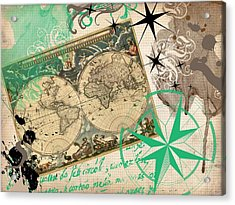 Map Collage Acrylic Print by Cindy Edwards
