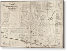 Acrylic Print featuring the painting Map Detroit, 1835 by Granger