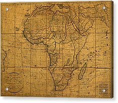 Map Of Africa Circa 1829 On Worn Canvas Acrylic Print by Design Turnpike