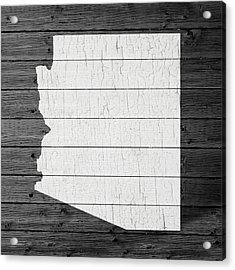 Map Of Arizona State Outline White Distressed Paint On Reclaimed Wood Planks Acrylic Print by Design Turnpike