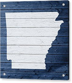 Map Of Arkansas State Outline White Distressed Paint On Reclaimed Wood Planks Acrylic Print by Design Turnpike