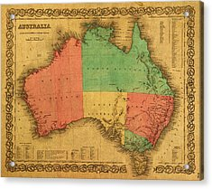 Map Of Australia Vintage 1855 On Worn Canvas Acrylic Print by Design Turnpike