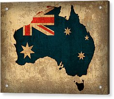 Map Of Australia With Flag Art On Distressed Worn Canvas Acrylic Print by Design Turnpike
