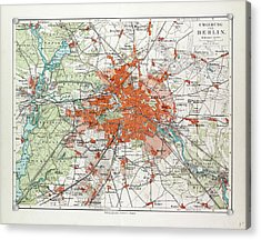 Map Of Berlin And The Surrounding Area Germany 1899 Acrylic Print