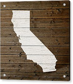 Map Of California State Outline White Distressed Paint On Reclaimed Wood Planks Acrylic Print