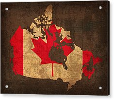 Map Of Canada With Flag Art On Distressed Worn Canvas Acrylic Print by Design Turnpike