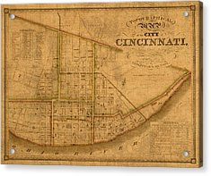 Map Of Cincinnati Ohio In 1841 On Worn Distressed Canvas Parchment Acrylic Print by Design Turnpike