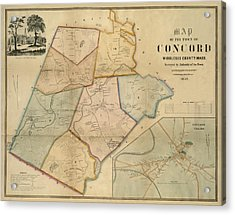 Map Of Concord 1852 Acrylic Print by Andrew Fare