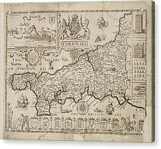 Map Of Cornwall Acrylic Print by British Library