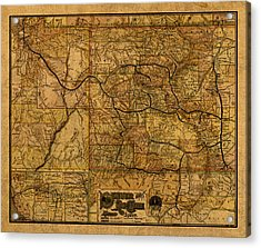 Map Of Denver Rio Grande Railroad System Including New Mexico Circa 1889 Acrylic Print by Design Turnpike