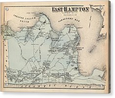 Map Of East Hampton 1873 Acrylic Print