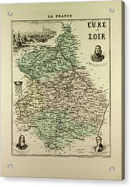 Map Of Eure And Loir 1896 France Acrylic Print by French School