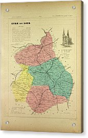 Map Of Eure Et Loir France Acrylic Print by French School