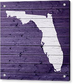 Map Of Florida State Outline White Distressed Paint On Reclaimed Wood Planks Acrylic Print by Design Turnpike