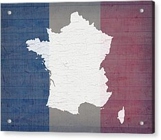 Map Of France In White Old Paint On French Flag Barn Wood  Acrylic Print