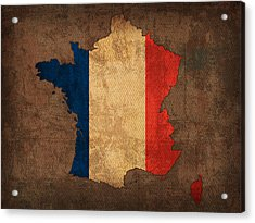 Map Of France With Flag Art On Distressed Worn Canvas Acrylic Print by Design Turnpike
