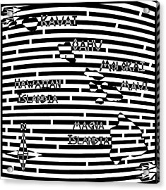 Map Of Hawaii Maze Acrylic Print by Yonatan Frimer Maze Artist