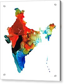 Map Of India By Sharon Cummings Acrylic Print by Sharon Cummings