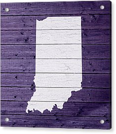 Map Of Indiana State Outline White Distressed Paint On Reclaimed Wood Planks Acrylic Print by Design Turnpike