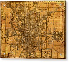 Map Of Indianapolis Vintage Bicycle And Driving Street Diagram On Weathered Parchment Acrylic Print by Design Turnpike
