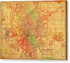 Map Of Indianapolis Vintage Bicycle And Driving Watercolor Street Diagram Painting On Parchment Acrylic Print by Design Turnpike