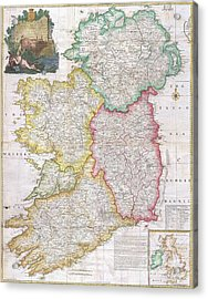 Map Of Ireland  1794 Acrylic Print by Pg Reproductions