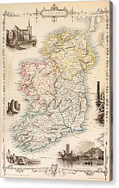 Map Of Ireland From The History Of Ireland By Thomas Wright Acrylic Print by English School