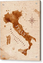 Map Of Italy In Old Style, Brown Acrylic Print