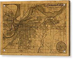 Map Of Kansas City Missouri Vintage Old Street Cartography On Worn Distressed Canvas Acrylic Print