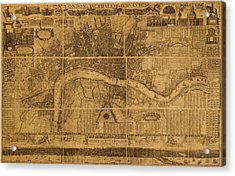 Map Of London England Old Parchment Circa 1905 Acrylic Print
