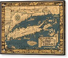 Map Of Long Island Acrylic Print by Andrew Fare