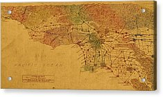 Map Of Los Angeles Hand Drawn And Colored Schematic Illustration From 1916 On Worn Parchment Acrylic Print