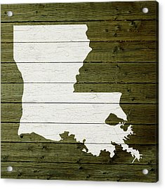 Map Of Louisiana State Outline White Distressed Paint On Reclaimed Wood Planks Acrylic Print