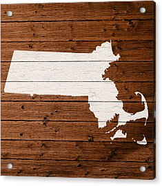 Map Of Massachusetts State Outline White Distressed Paint On Reclaimed Wood Planks Acrylic Print