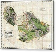 Map Of Maui 1885 Acrylic Print by Jon Neidert