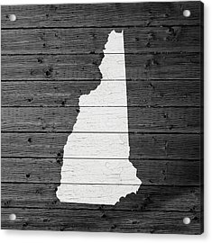 Map Of New Hampshire State Outline White Distressed Paint On Reclaimed Wood Planks Acrylic Print