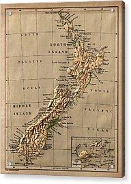 Map Of New Zealand 1880 Acrylic Print